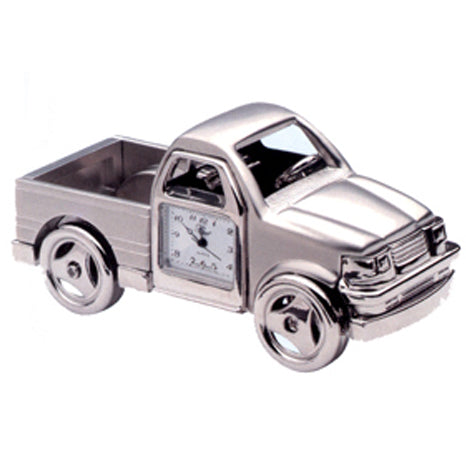 Silver Pickup Truck Miniature Clock