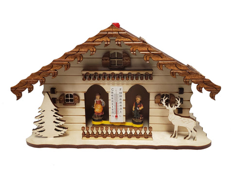 Weather House With Deer & Tree (Natural)