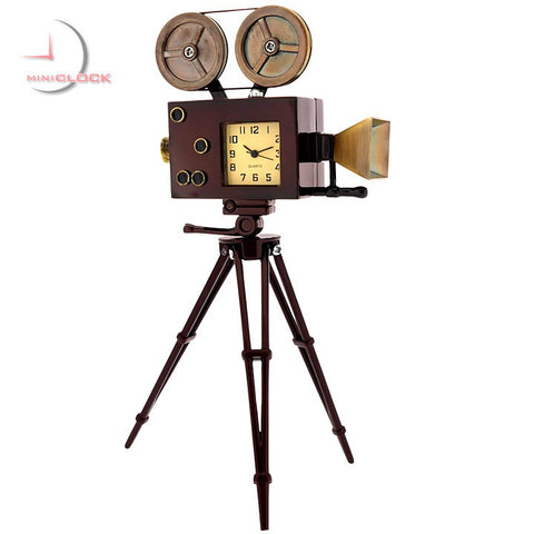 Vintage Movie Camera Miniature Clock