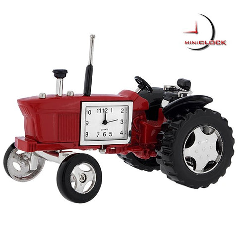 Farm Tractor Miniature Clock Red