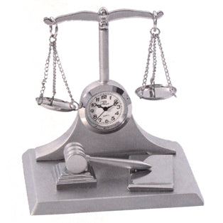 Scales of Justice Miniature Clock