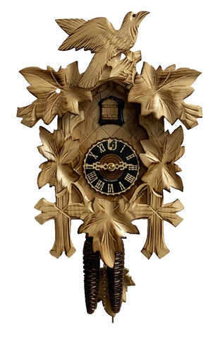 KU1003ge - 1 Day 5 Leaf Cuckoo Clock with Burned Finish