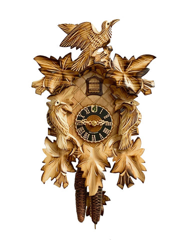 KU1013ge - 1 Day 7 Leaf 3 Bird Cuckoo Clock with Burned Finish