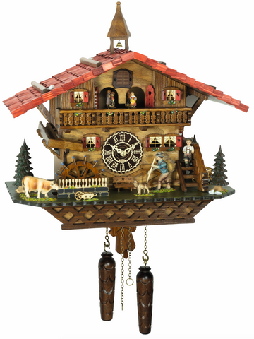 KU4267QMT - Quartz Musical Chalet with Animated Hiker & Waterwheel