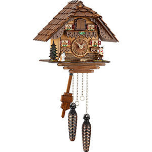 Quartz Musical Cuckoo Clock w/ Dog & Musician