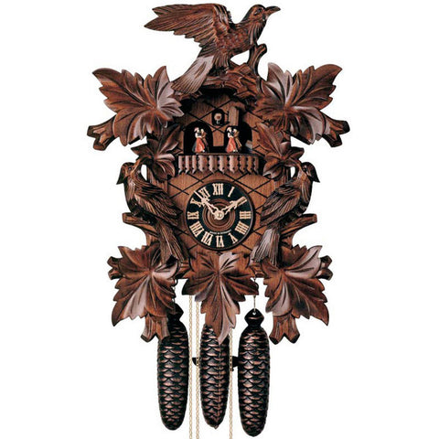 KU8014M - 8 Day Musical 7 Leaf 3 Bird Cuckoo Clock