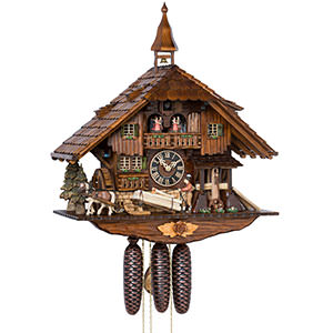 KU8230M- 8 Day Musical Chalet Cuckoo Clock with Log Puller and Saw Mill