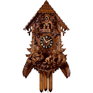 KU82528M - 8 Day Musical Chalet w/ Bears Fully Carved