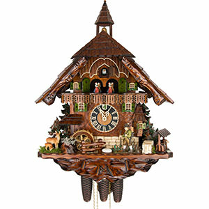 KU8740M - 8 Day Musical Chalet with Hunting Scene