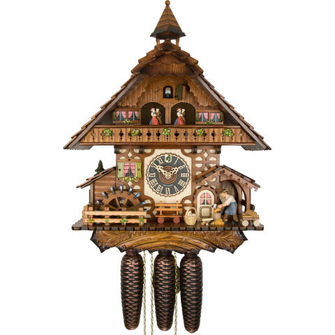 KU8787M - 8 Day Musical Chalet with Woodchopper & Waterwheel