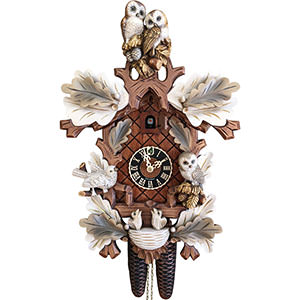 KU8794aw - 8 Day Cuckoo Clock with Hand Painted Owls & Birds