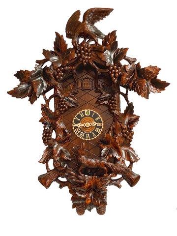 KU8865 - 8 Day Deluxe Carved Fox & Grapes Cuckoo Clock