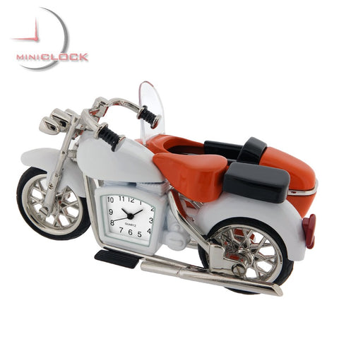 Harley Style Motorcycle with Side Car Miniature Clock