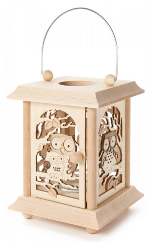Candle Holder - Lantern Style w/ Owls