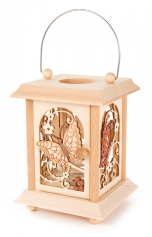198/145 - Lantern Style Candle Holder w/ Butterflies