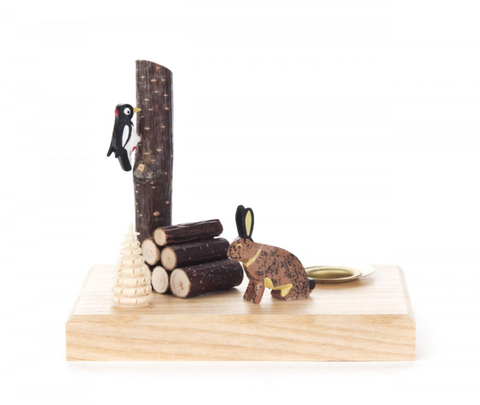 Candle Holder - Rabbit & Woodpecker