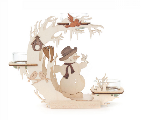 201/197 - Tealight Holder with Snowman & Birds