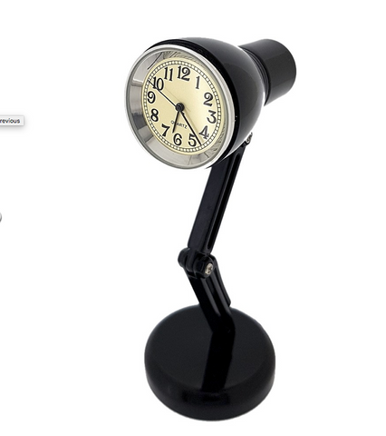 Black Desk Lamp Mini Clock