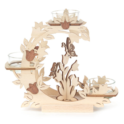 Wooden Candle Holder w/ Flowers