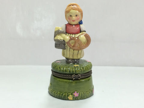 German Girl & Pretzel Trinket Box