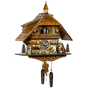 KU4259QMT-Quartz Musical Chalet Cuckoo with Wood Chopper