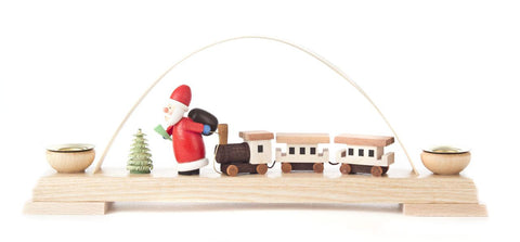 Candle Holder - Santa w/ Train