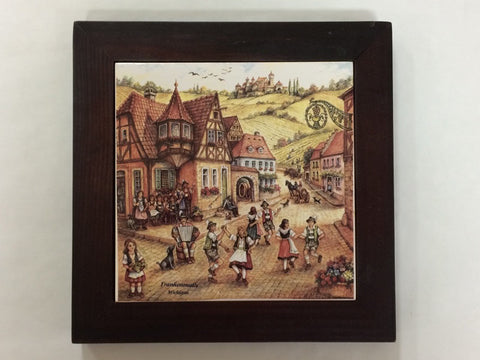 Village Dancers Framed Tile