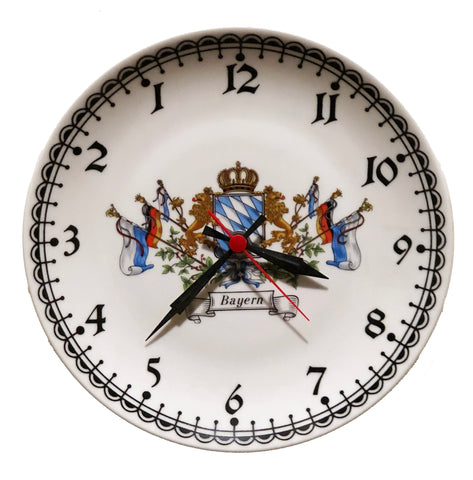 "Porcelain Plate Clock with ""Bayern"" Crest"