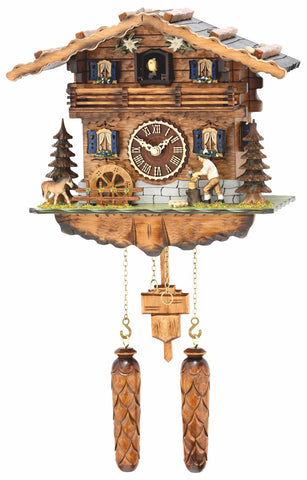 Quartz Musical Chalet with Animated Woodchopper & Turning Wate