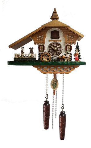 KU4249QMT - Quartz Musical Chalet Cuckoo with Beer Drinker & Turning Dancers