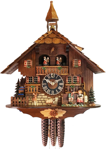 KU638M - 1 Day Musical Kissing Couple Chalet Cuckoo Clock