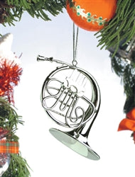 Silver French Horn Ornament