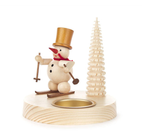 Tealight Holder - Snowman w/ Skis