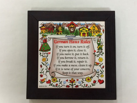 German House Rules Framed Tile