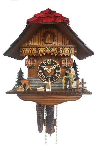 KU160 - 1 Day Chalet Cuckoo Clock with Clock Peddler