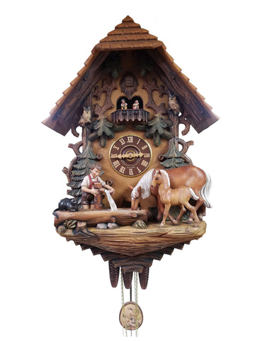 KU82978M - 8 Day Musical Fully Hand Painted Chalet with Boy & Horses