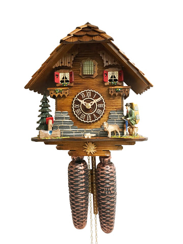 KU8501-8 Day Chalet Cuckoo with Clock Peddler and Dog