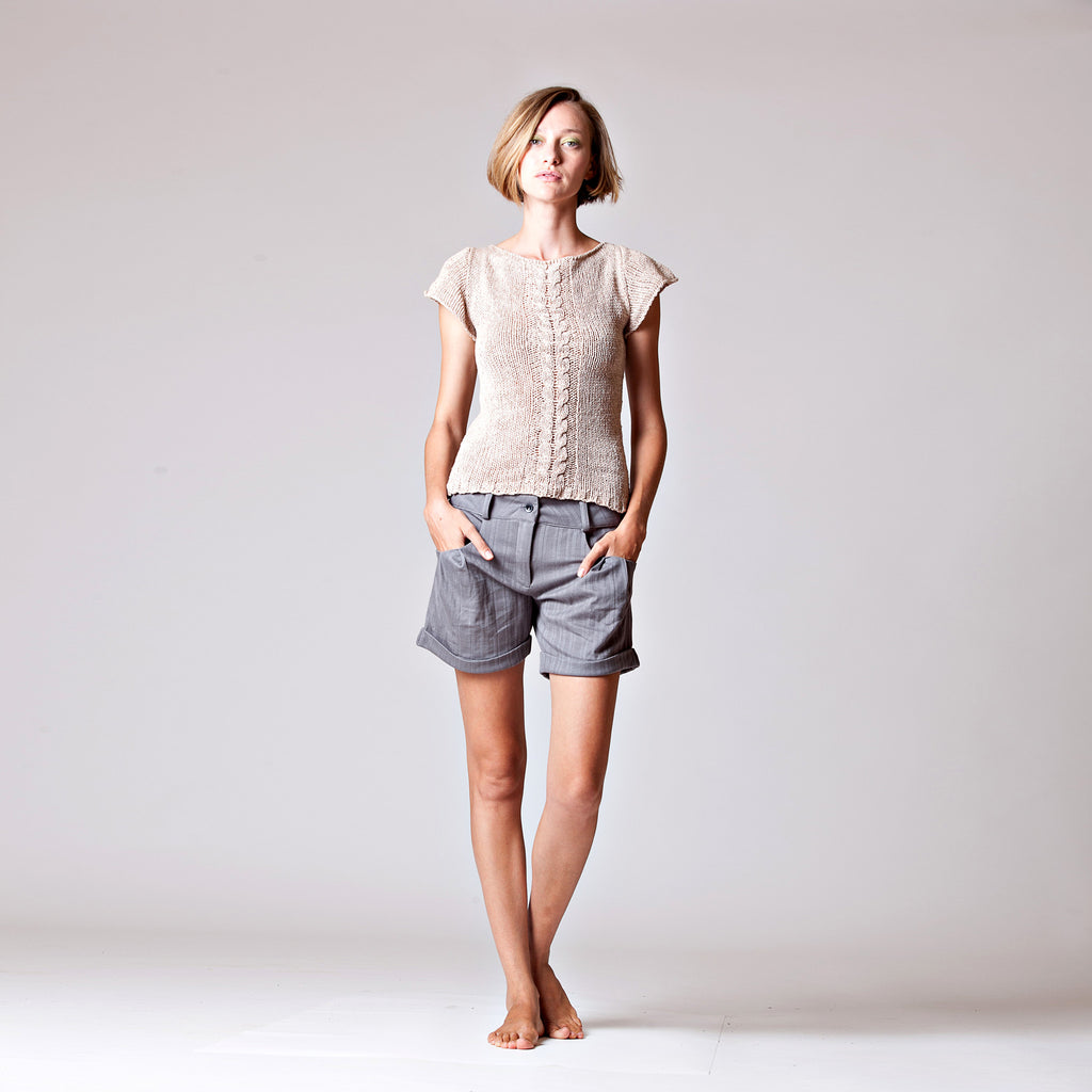 Sample Sale-Knitted Silk top; Cap sleeve fitted top size S - DuendeFashion  - 1