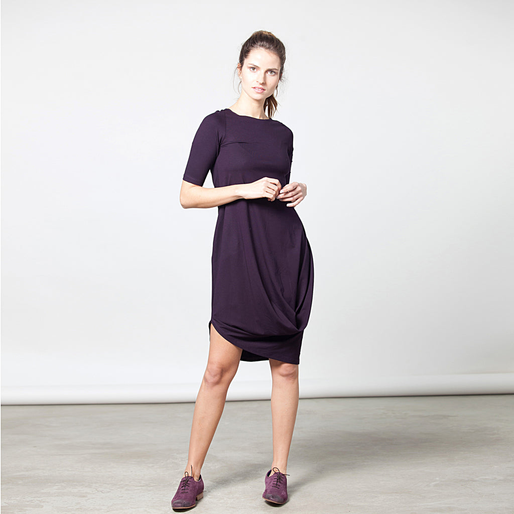 Sample sale- Half sleeve draped jersey dress size M color asparagus - DuendeFashion  - 1