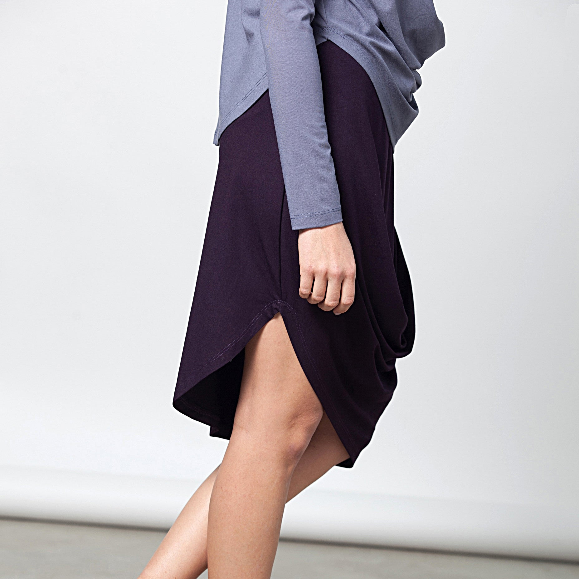 Sample Sale - Draped jersey skirt in grey stone size S-M - DuendeFashion  - 5