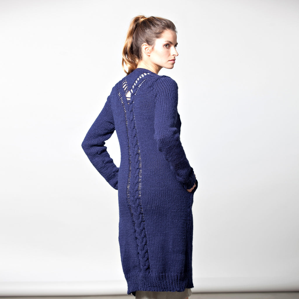 Sample sale- Long cable knit cardigan size S-M color navy - DuendeFashion  - 1