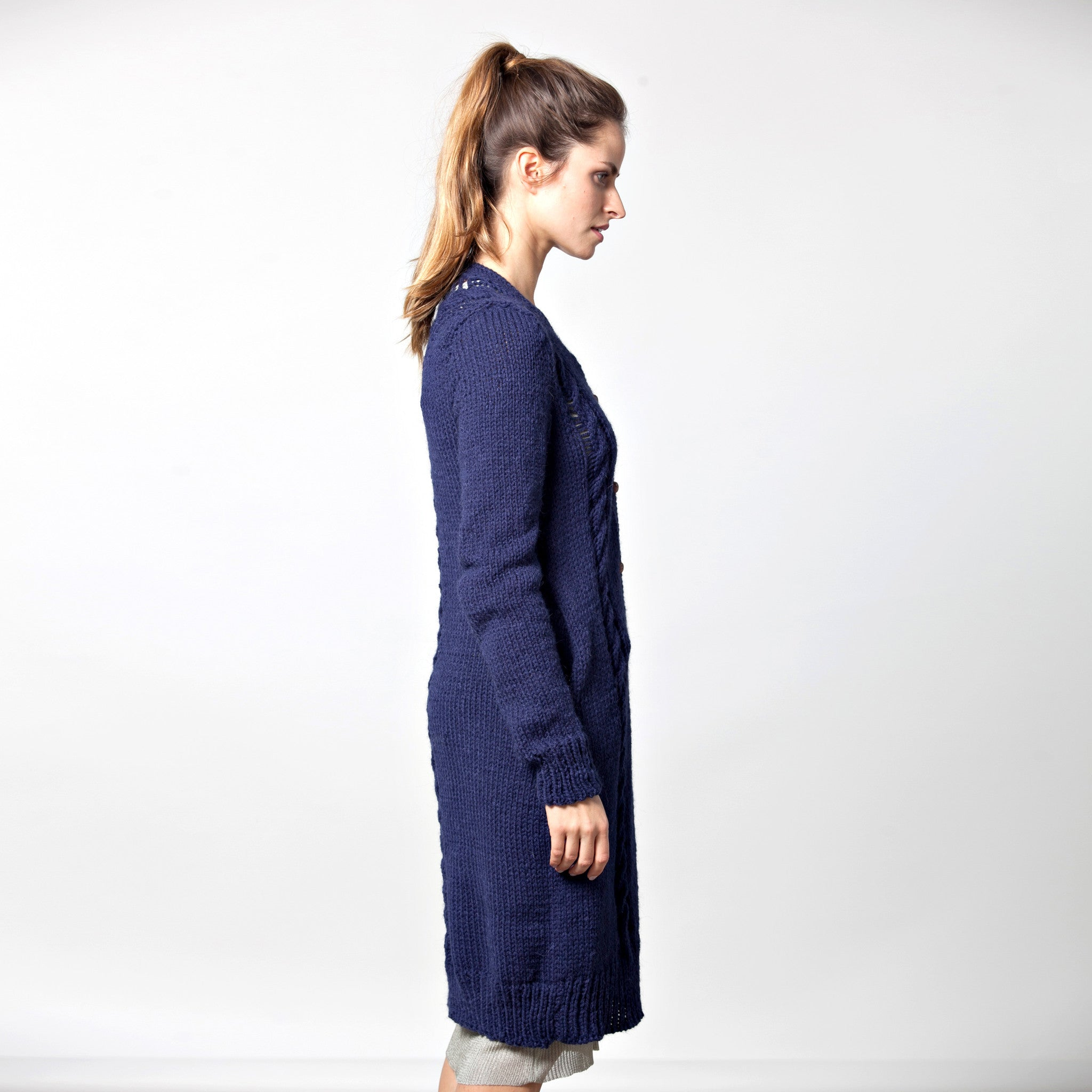 Sample sale- Long cable knit cardigan size S-M color navy - DuendeFashion  - 5