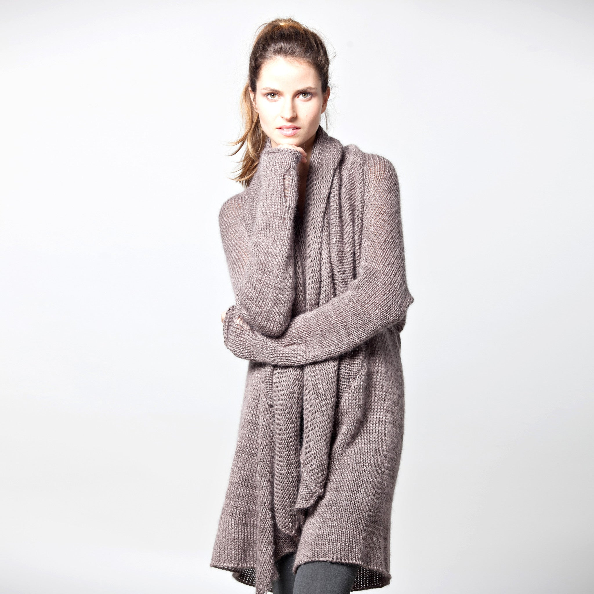 knitted waterfall cardigan - DuendeFashion  - 2