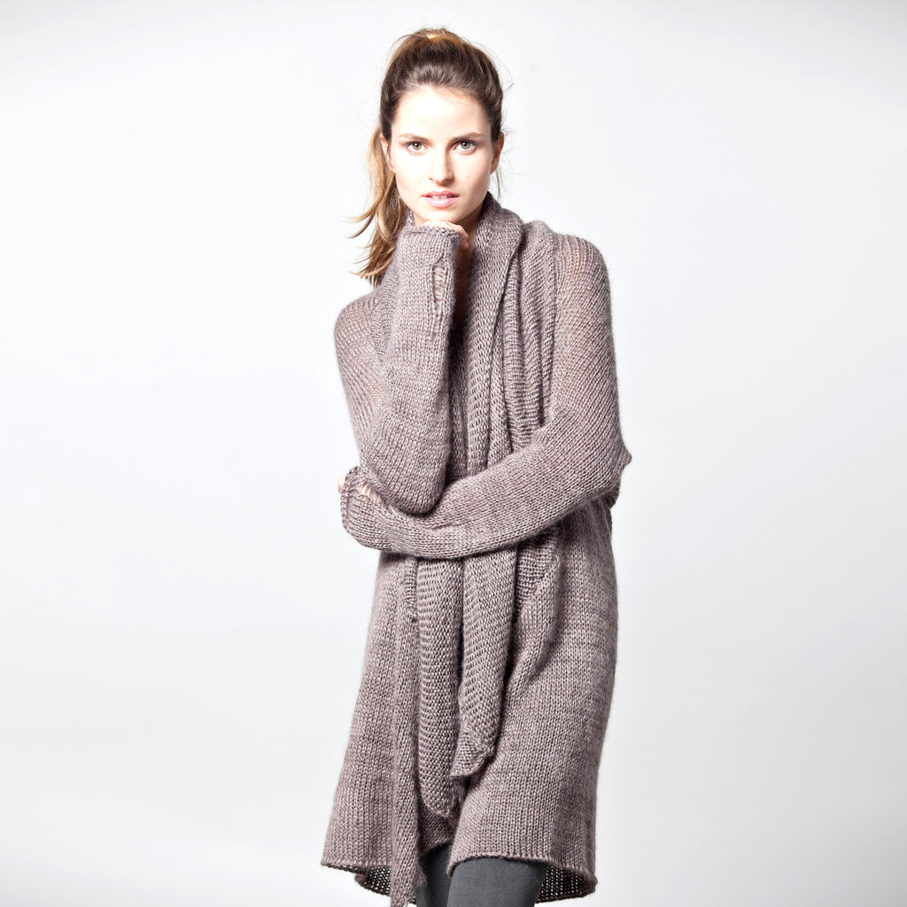 knitted waterfall cardigan - DuendeFashion  - 1