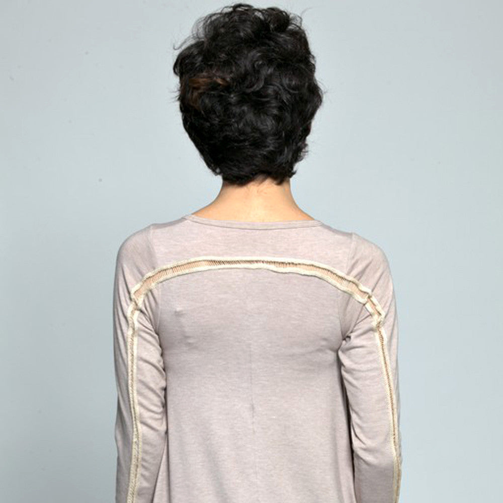 Sample Sale- Winter sweater dress; ladder detail in sand size S - DuendeFashion  - 3