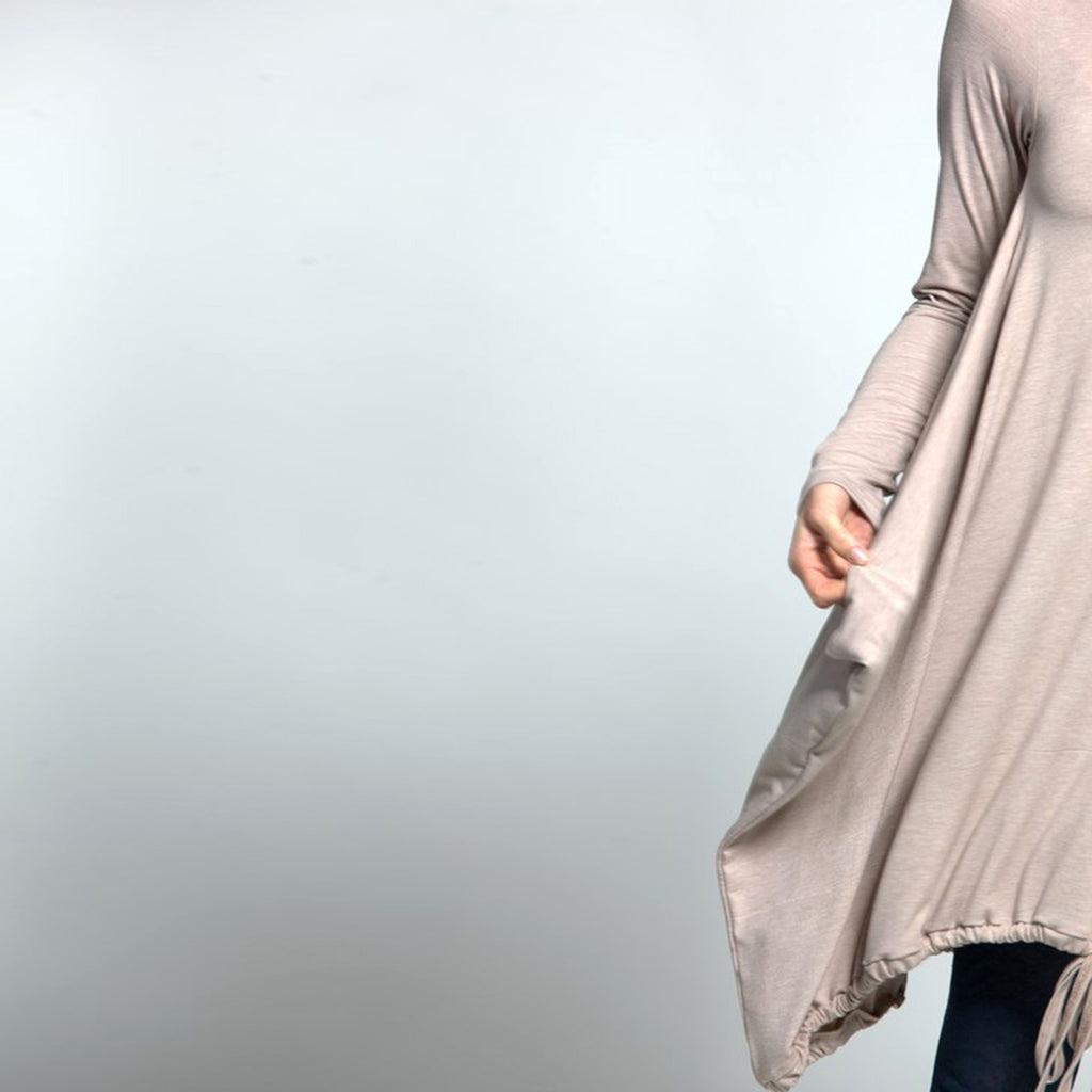 Sample Sale- Winter sweater dress; ladder detail in sand size S - DuendeFashion  - 1