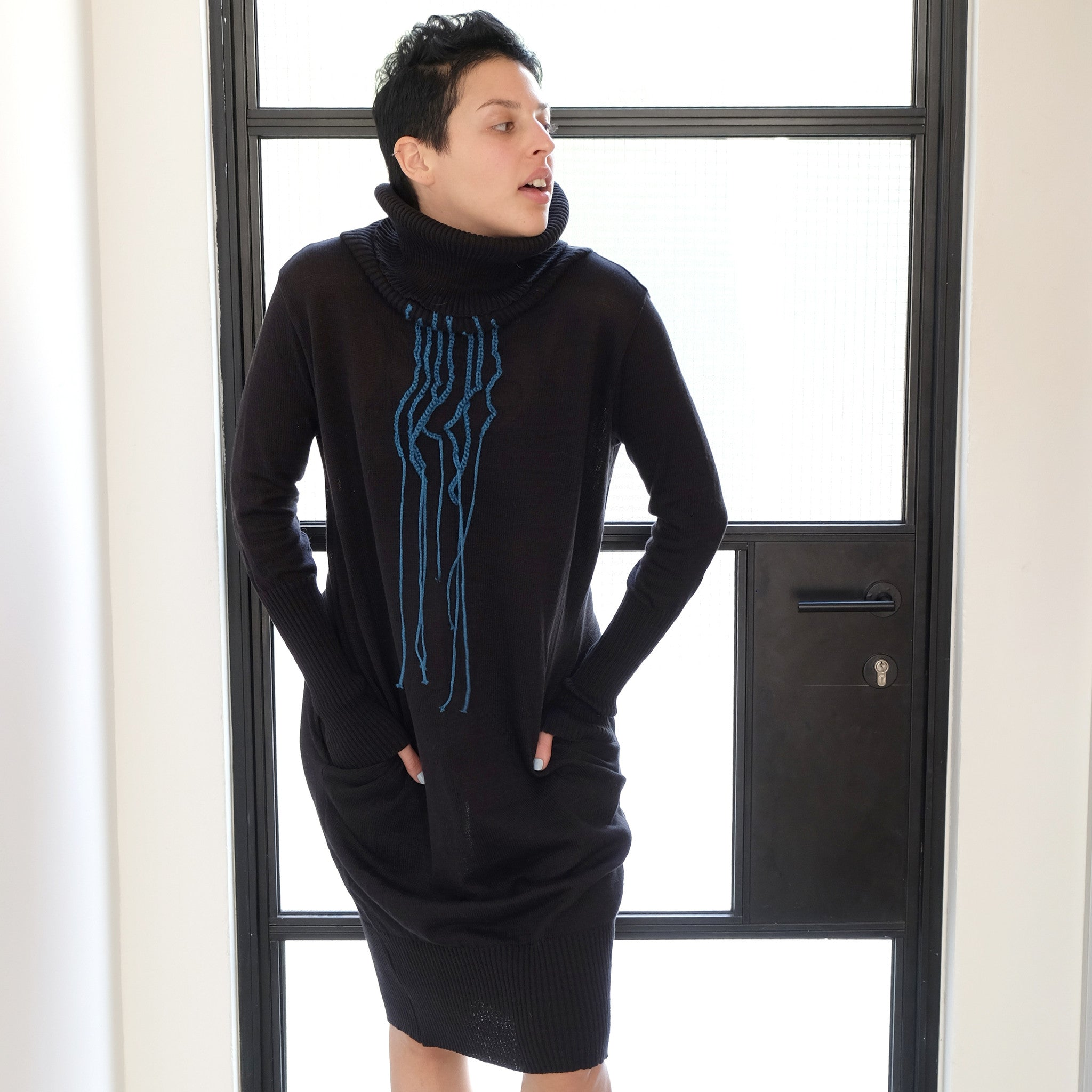 Black OOAK knitted winter dress #2 - DuendeFashion  - 3