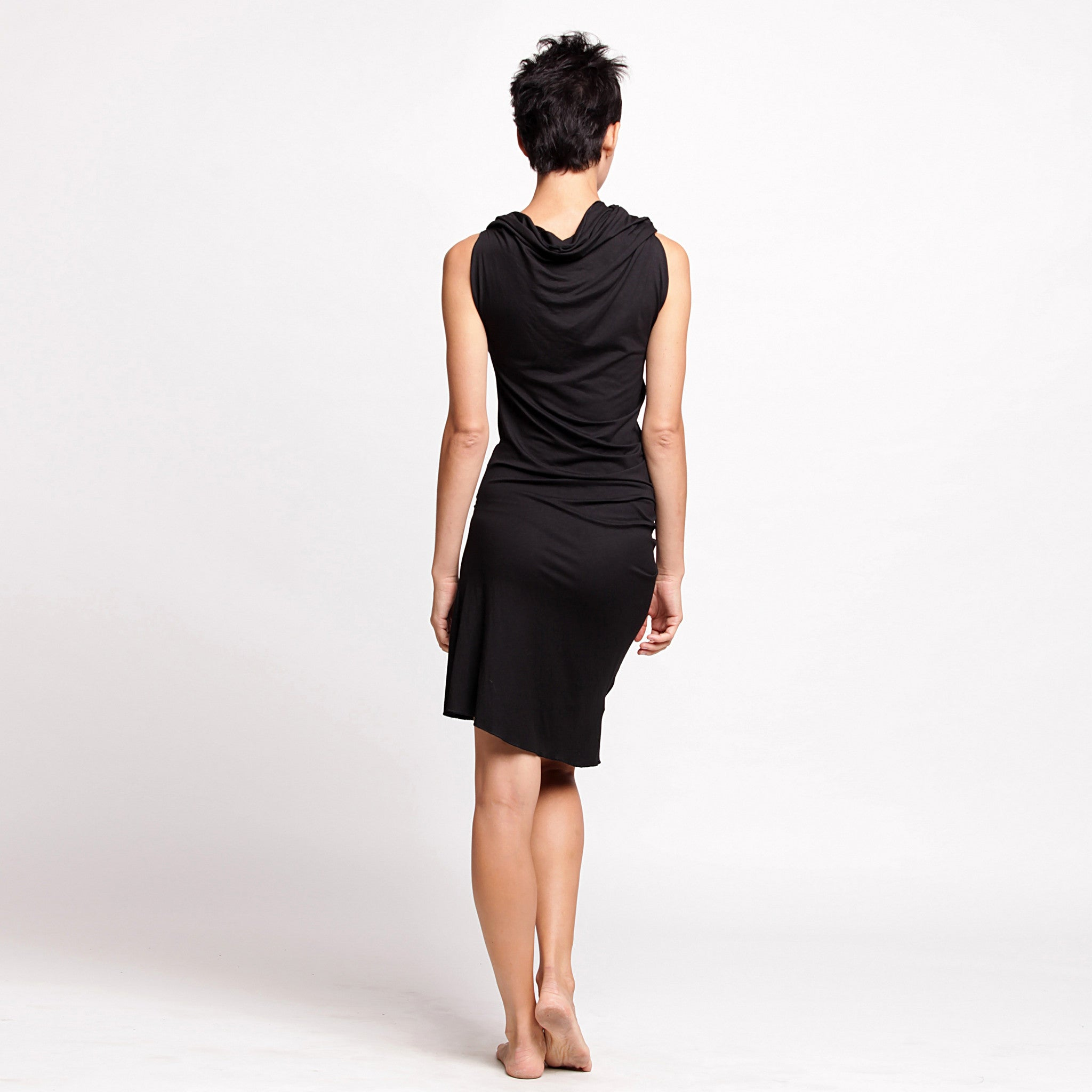 Black Twisted Tunic dress - DuendeFashion  - 3