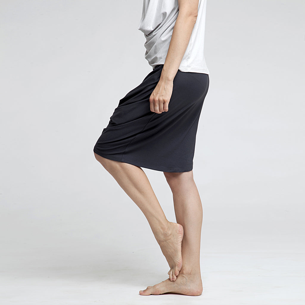 Sample Sale - Draped jersey skirt in grey stone size S-M - DuendeFashion  - 1