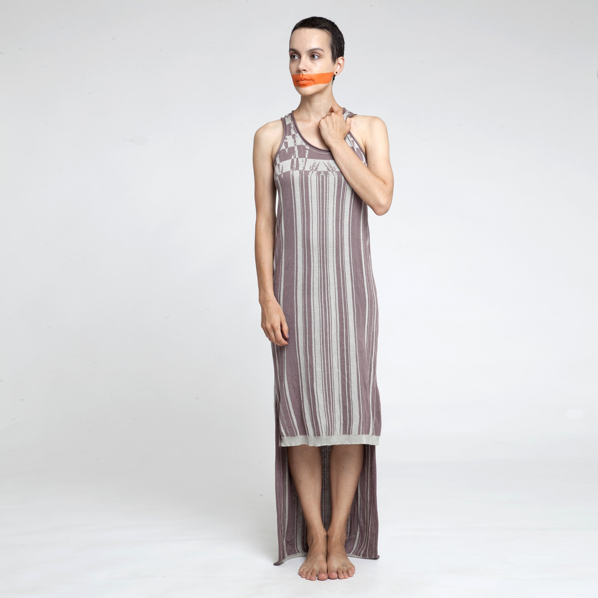 Sample Sale - Knitted jacquard Maxi dress in stone and black size S-M - DuendeFashion  - 3